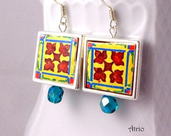 Silver Tile Earrings Portugal Antique Azulejo FRAMED - BRAGA! (see actual Facade photo) Water resistant and Reversible Ships from USA 672a