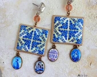 Portugal Blue Antique Azulejo Tile Majolica Baroque - Ovar Blue 1892 Renaissance Coimbra Blue Pottery, Aveiro Train Station, Cucujães 1901