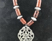 Triquetra Pendant with Mahogany Obsidian Beads on Brown Leather Necklace