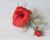 Vintage Feather Rose Flower Corsage Brooch Rose Feather Hat Millinery Red