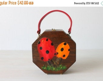 SALE Vintage Wood Box Purse Handbag / Novelty Handbag / Hand Painted Wood Purse / Fabric Interior / Toad Stools