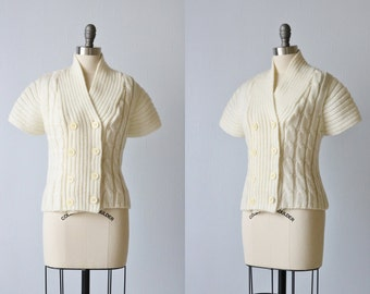 Vintage 1970s Cream Cable Knit Sweater Top / Knit Top / Double Breasted Buttons / Cream