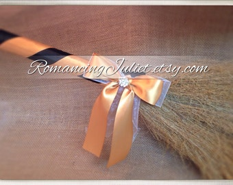 Classic Jump Broom Made in Your Custom Colors with Rhinestone Accent ..shown in gold/black