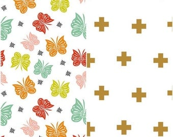 SUMMER SALE  - 1 1/4 Yards Each - Blanket Cut - Double Gauze - Flutter in Multi and Plus Print Gold - Riley Blake Designs