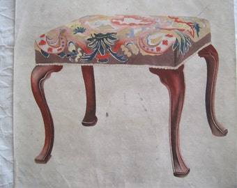 Watercolor Furniture Designer Drawing Ottoman Foot Stool Early 1900's RARE