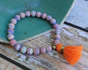 PINK RAINBOW Malachite with TASSEL Bracelet, boho, tribal