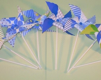 New - Blue Floral Graphic Pinwheel Collection (16)  Pinwheels, Pinwheel Collection, Pinwheel Center Pieces, Table Top Party Props