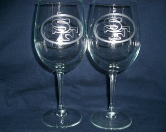 Set Of 2 San Francisco NFL Wine Glasses