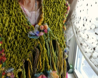 RESERVED - rustic hand knit boho art yarn scarf wrap from the forest - moss garden memory