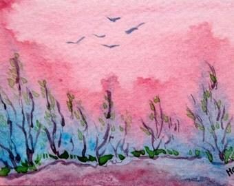 Original Watercolor ACEO Art Card, Birds Flying into Pond