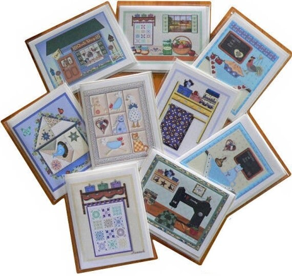 Kitchen Layout Notes: Quilt Design Country Home Note Cards Blank Variety Of 9
