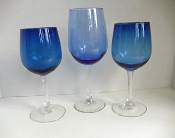 Trio of Cobalt Blue Goblets