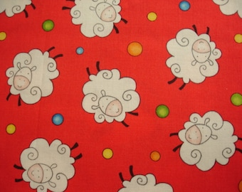 KNITTING BAG APRON - Made To Order - Henry Glass Rhyme Time Sheep on Red - Please allow 3 weeks for delivery