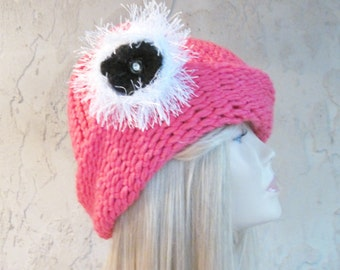 Deep Pink Cloche Adult Hand Knit Hat with Removable Flower Ready to Ship