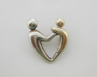 Vintage Sterling Silver Two Tone Loves Heart Pendant