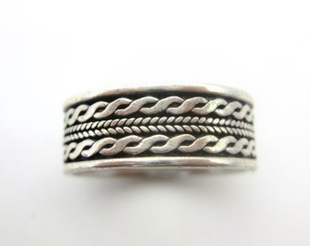 Size 7 3/4 Vintage Sterling Silver Twisted Rope Ring