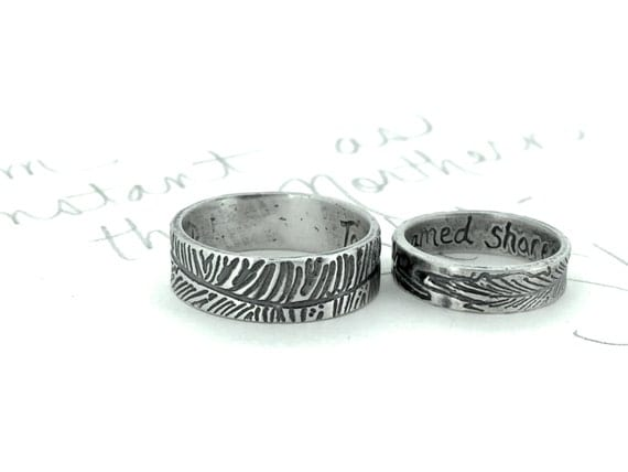 silver wedding band ring set . to unpathed waters shakespeare quote ring . engraved boho bohemian feather wedding band by peacesofindigo