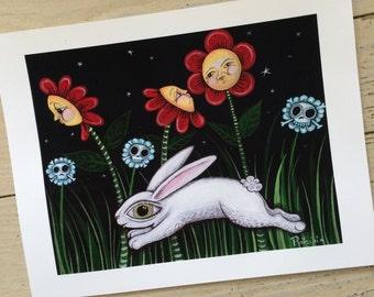 Leaping Night Rabbit Print by Patti Backer