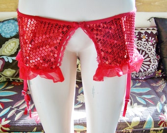 Garter Belt, Sequined garters, Red Sequin Garter, Beaded garter belt, size s / m