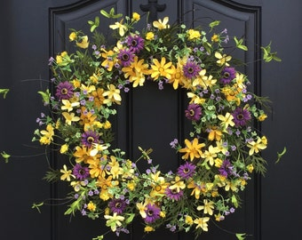 Summer Wreaths, Yellow Daisy Wreath, Summer Front Door Wreaths, Door Wreaths for Summer, Handmade Wreaths for Summer, Etsy Wreaths, Wreaths