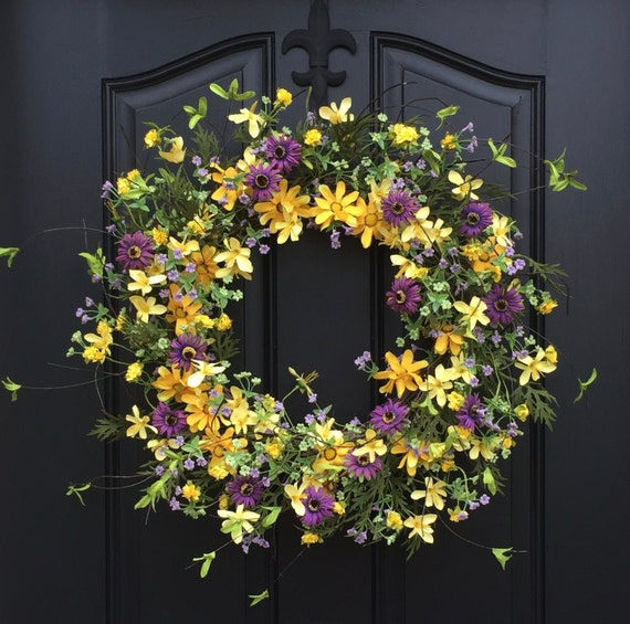 Front Door Decorations For Summer: Spring Yellow Daisy Wreath Summer Front Door Wreaths Door