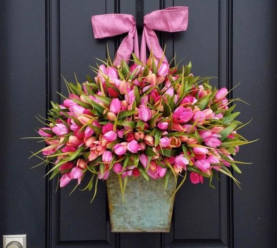 Tulips - Easter Tulips -  Spring Door Decor - Spring Tulips - Pink Tulips