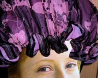 SHOWER CAP Black with Pink Roses Shiny Spots BLACK Trim