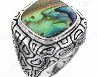 Adorable Paua Abalone Shell 925 Sterling Silver Sz 6 Ring