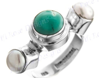 Design Turquoise Biwa Pearl 925 Sterling Silver Sz 6 Ring