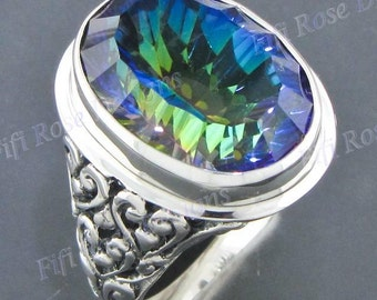 magnificent 20ct 22mm blue mystic topaz 925 sterling silver us 7 ring