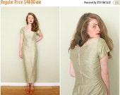 EXTRA SALE SALE | 1950s Sage Green Shantung Silk Wiggle Dress | Vintage 50s Handmade Spring Green Silk Column Dress | Large L