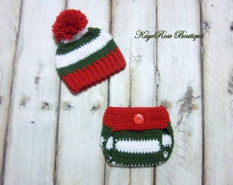 Christmas Newborn Baby Pom Pom Crochet Hat and Diaper Cover Set Red Green and White Stripes