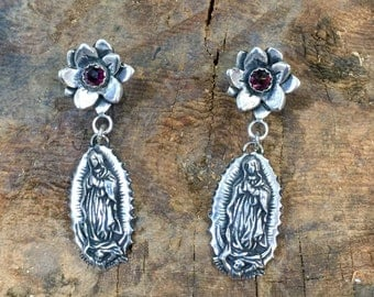E291 Sterling Silver Flower with Garnet over Guadalupe Virgin Mary Madonna Earrings Southwestern Native Santa Fe Style