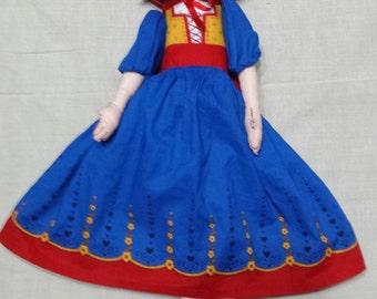 "Vintage handmade doll cloth fabric Snow White 15"""