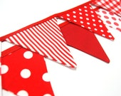 Red & White Christmas Photobooth Prop, MINI Flag Party Banner Bunting, Photo Booth Backdrop -- fabric, cloth -- SALE