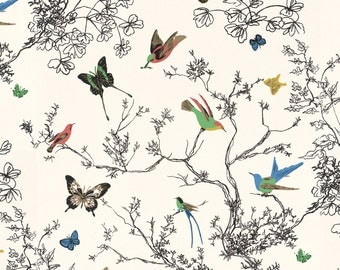 Schumacher Wallpaper Birds and Butterflies Single Roll