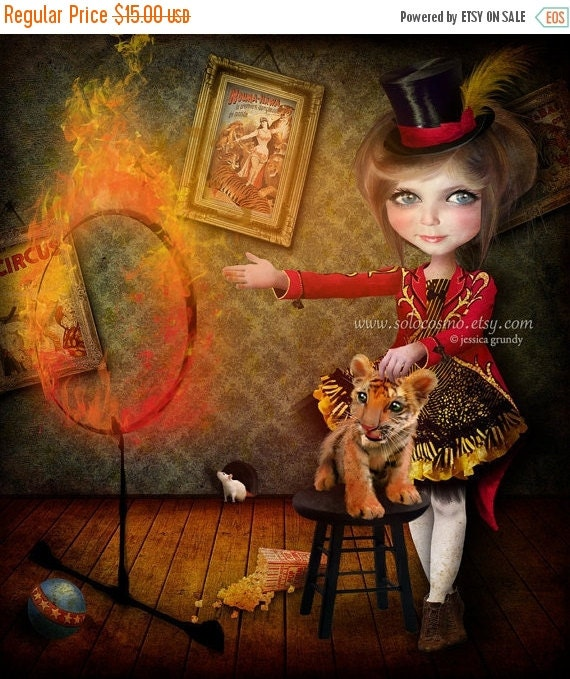 "SUMMER SALES EVENT Fine Art Print ""Ring of Fire"" Medium Size 8.5x11 / 8x10  Digital Collage  Lowbrow Art Circus Performer Girl Tiger Tamer"