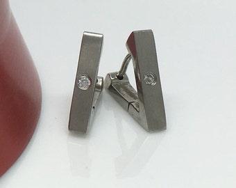Men's hoop earrings, steel triangle hoop earring, diamond cz hoop earrings, stainless steel huggie hoop earrings, cartilage earring, 213