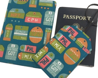 Passport Cover International Airport Codes,  Travel Set with Luggage Tag