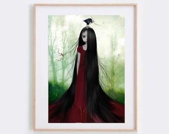 Rapunzel Art Print - Fairytale Art Print - Big Eye Art - Wall Decor
