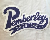 Large Pemberley Swim Team back jacket patch Pride and Prejudice Jane Austen varsity style