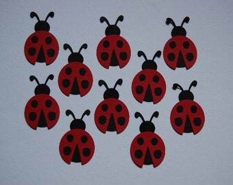 Red and Black Paper Ladybugs-Set of 10 Ladybugs-Favors-Card Making-Toddler Birthday-Invitations-Bug Party Decor-First Birthday-Ready to Ship