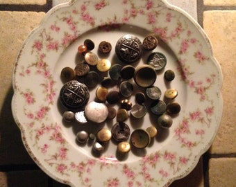 Assortment of 40 Metal or Metal-Look Buttons
