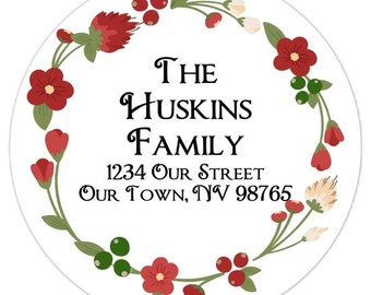Christmas Stickers, Custom Christmas Address Labels, Floral Design -  2.5 inch round - Holiday Stickers Personalized for YOU