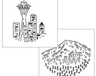 SEATTLE IRON-ON transfer pack for embroidery, city embroidery, space needle pattern, national parks, embroidery design by Studiomme