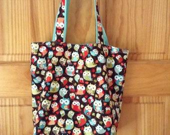 Owl Tote Bag, Library Bag, Book Bag, Little Girl Cute Gift,