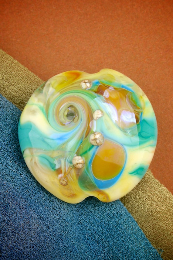 "Lampwork Glass Beads SRA ""Hermes"" Handmade Organic Lustre & Texture Silver Glass Lentil Focal"