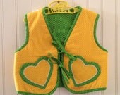 2t 3t vintage yellow and green vest with heart pockets and sun
