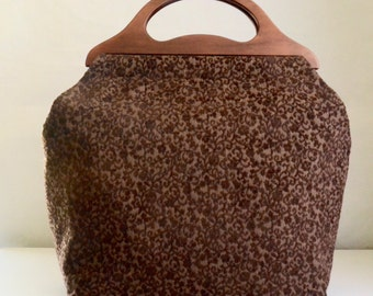Brown Scrolls Chenille Large Craft Project Tote/ Knitting Tote Bag - READY TO SHIP
