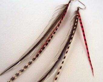 feather earrings hand made Grizzly fun red